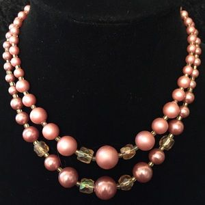 Jewelry - Vintage 2-Strand Mauve Pink Necklace JJ199